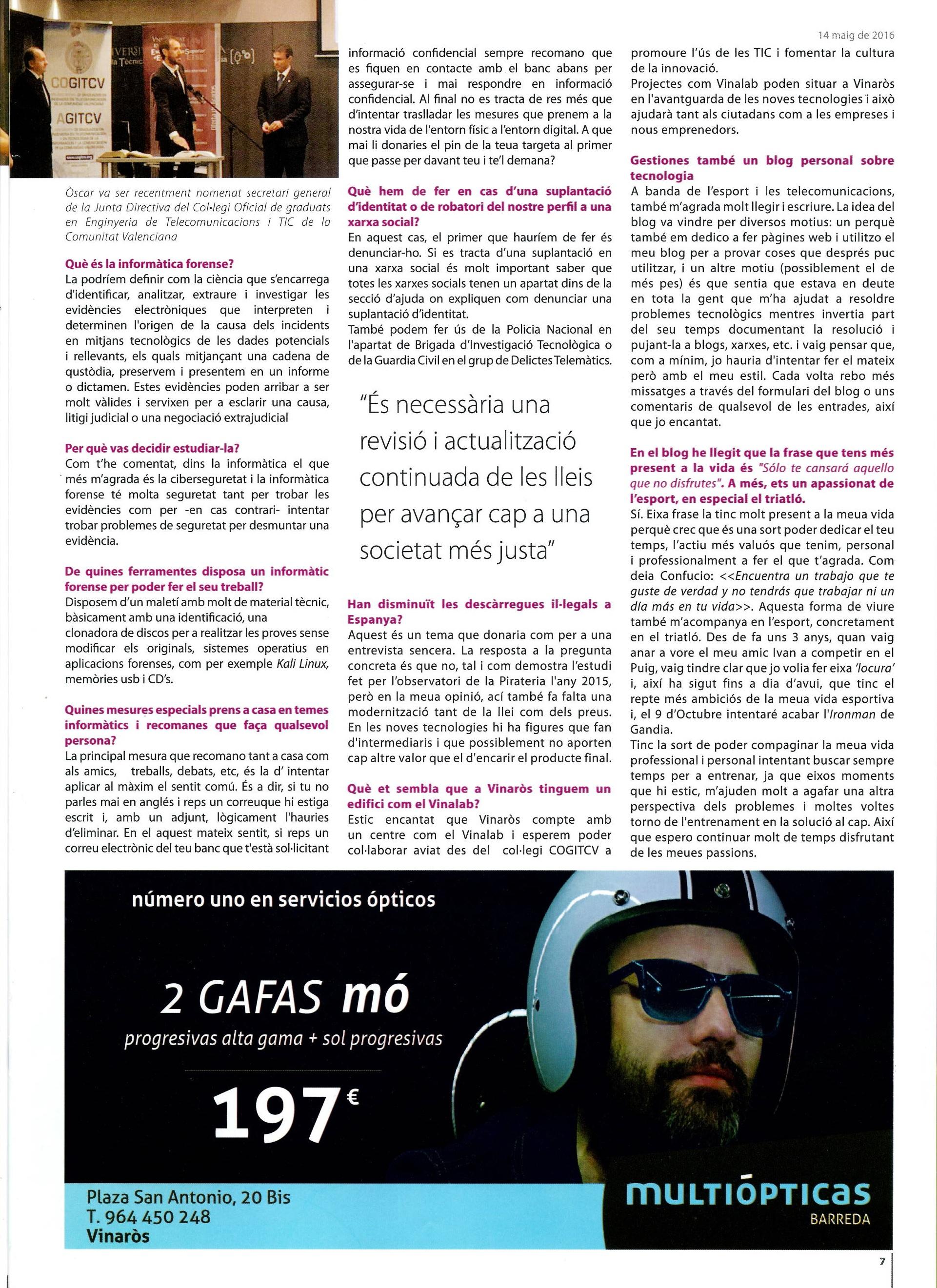 Entrevista El Diariet de Vinaros 2
